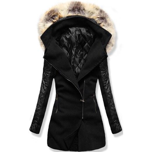 084cbef70f MODOVO Női hosszú kabát kapucnival 6710 fekete - Glami.hu