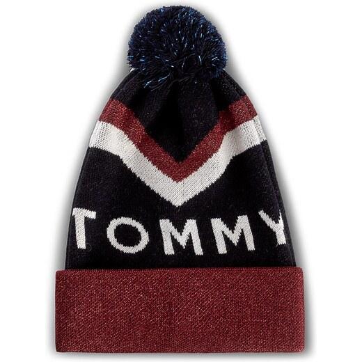68f25251b Čiapka dámska TOMMY HILFIGER - DENIM Tommy Chevron Pom Pom Beanie  AW0AW04275 413 - Glami.sk