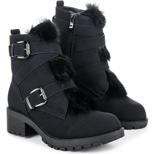 01e401bf15 Vices Čierne členkové topánky s kožúškom 2139-1A-B - Glami.sk