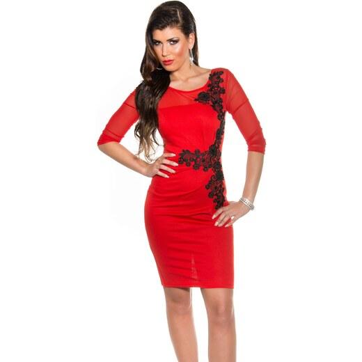 Fekete horgolt csipke díszítésű női alkalmi ruha - Piros (36-42) - Glami.hu fc02170596