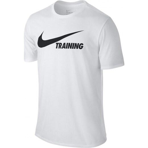 b5973c014412 Pánské tričko Nike TRAINING SWOOSH TEE WHITE WHITE BLACK - Glami.cz