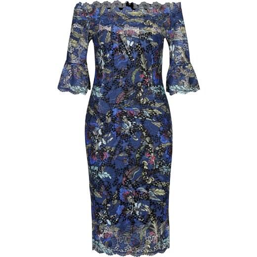 2de8bde44910 Tmavomodré čipkované šaty s odhalenými ramenami Paper Dolls - Glami.sk