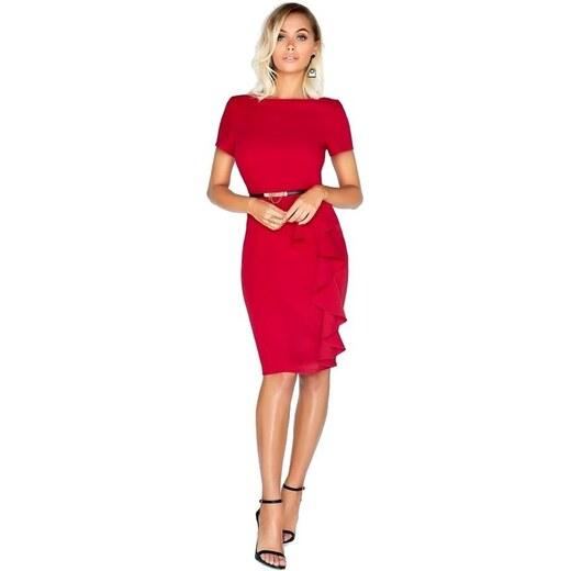 LITTLE MISTRESS Červené pouzdrové šaty s páskem a fiží v pase - Glami.cz 879019540e