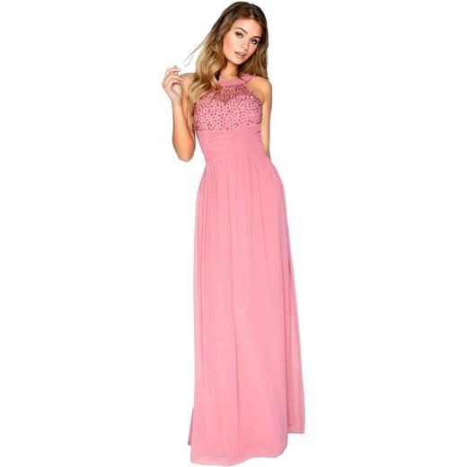 969150fd93f6 LITTLE MISTRESS Ružové maxi šaty s dekorovaným topom a plisé pasom -  Glami.sk