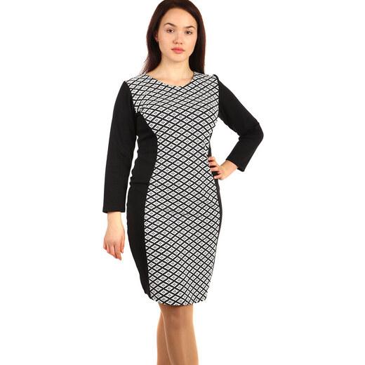 YooY Bavlněné šaty s dlouhým rukávem - pro plnoštíhlé (černá 1eaf6fcba6