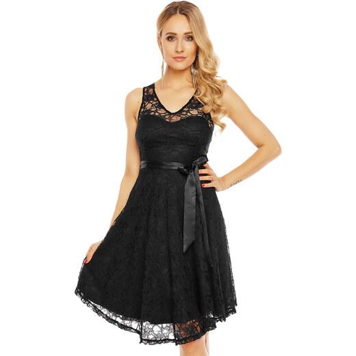 eeb51293e8b MAYAADI Dámské krajkové šaty na ramínka s páskem středně dlouhé černé -  Glami.cz