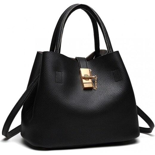 Lulu Bags (Anglie) Černá moderní kabelka se zámečkem Miss Lulu - Glami.cz 9489aa79a3