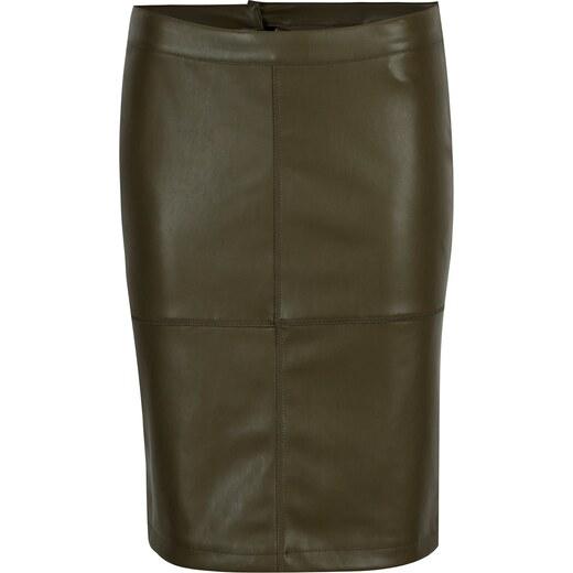 2ad22e125585 Zelená koženková pouzdrová sukně s rozparkem VILA Pen New - Glami.cz