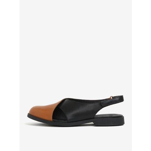 f2c52616c330 Čierno-hnedé dámske kožené sandále s uzavretou špičkou Camper Twins -  Glami.sk