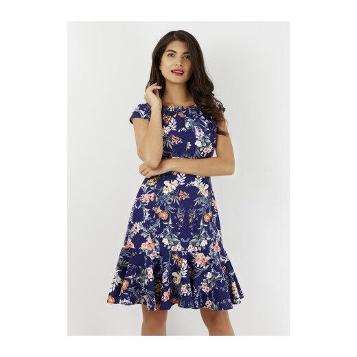 Dámské modré šaty s květy Closet London Closet D3249 - Glami.cz 69654053f2e