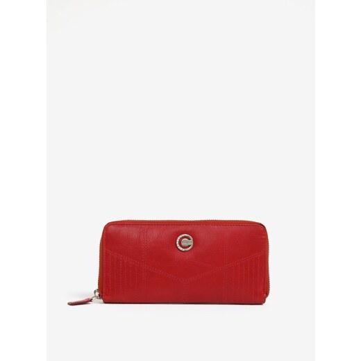 550fe1925c06 Červená dámska veľká kožená peňaženka na zips KARA - Glami.sk