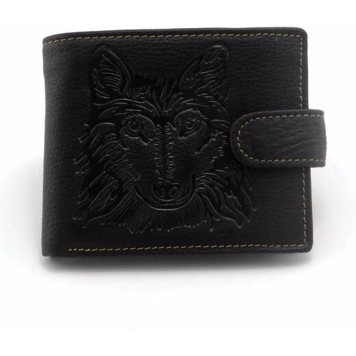 6438227f67 B-TOP Pánska peňaženka z PRAVÉ KŮŽE s motívom VLK - čierna prošívaná -  Glami.sk