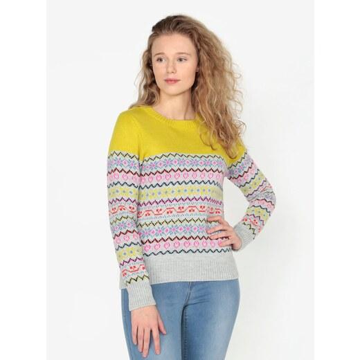 Žluto-šedý vzorovaný svetr Oasis Fairisle - Glami.cz 20e34083ae