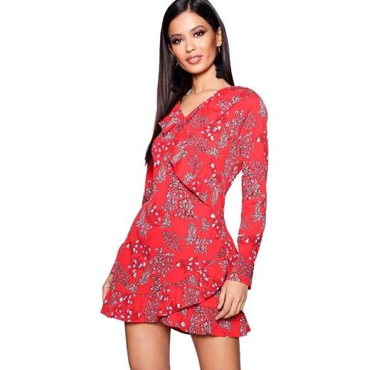 BOOHOO Wendy Červené květinové šaty s volány - Glami.cz 376093af98