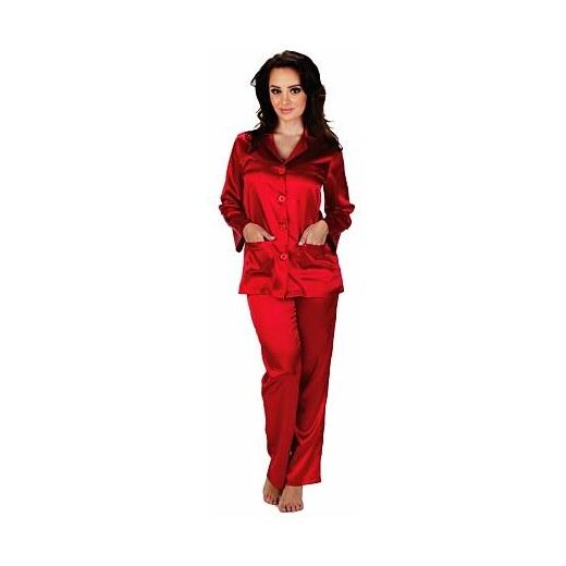44b4e59fdda7 De Lafense Dámske saténové pyžamo Classic dlhlé červené - Glami.sk