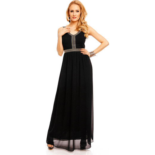 Dlouhé plesové šaty zdobené kamínky - černé - Glami.cz 5a0610cb6e