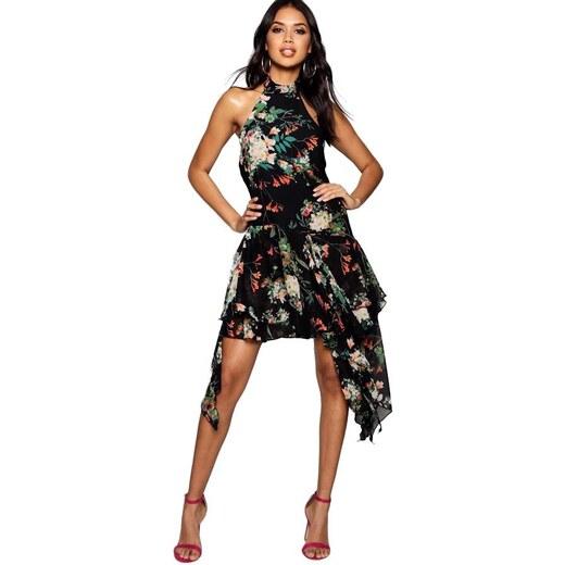 c0511e264ad8 BOOHOO ANNIE Čierne šifónové skater šaty s kvetmi - Glami.sk