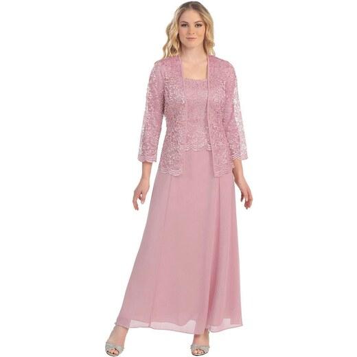 Glamor Ružové dlhé spoločenské šaty s čipkovaným kabátikom - Glami.sk b2df9ff5f57