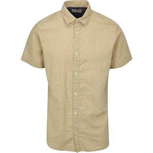 Béžová lněná košile Jack   Jones New - Glami.cz 698cc5e056