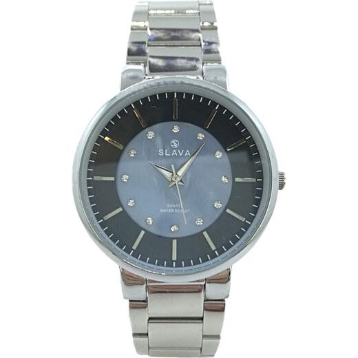2cfc31ae6 Dámské stříbrné hodinky SLAVA s modro-černým ciferníkem Barva: stříbrná -  Glami.cz