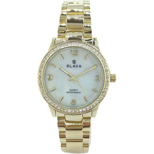 09d456364 Dámské zlaté hodinky SLAVA s kamínky na ciferníku Barva: zlatá - Glami.cz