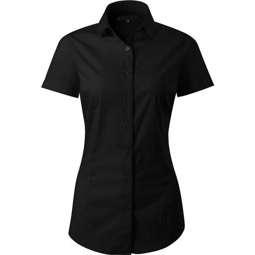 582c65111f21 The SHE Čierna elegantná dámska slim fit košeľa s krátkym rukávom - Glami.sk