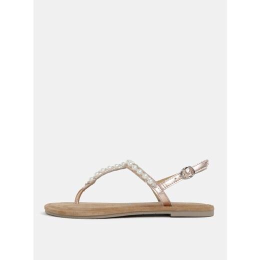 55b54d0c89 Světle růžové metalické kožené sandály Tamaris - Glami.cz