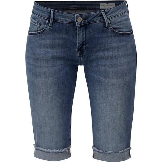 1a6d16cb0e4f Modré dámske regular slim rifľové kraťasy s nízkym pásom Cross Jeans -  Glami.sk