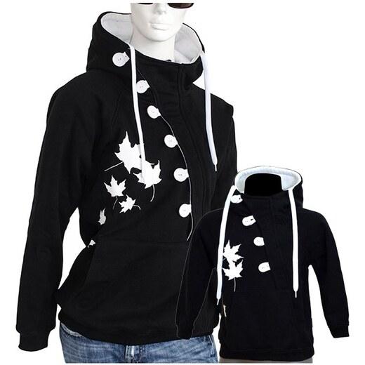 692254a738c2 Barrsa Button + Button Kids B W - Dámská + dětská mikina s kapucí přes  hlavu - Glami.sk
