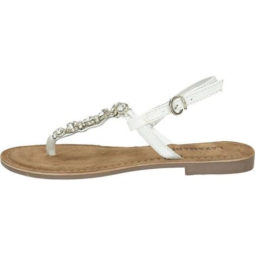 3e37fa0f2517 Lazamani dámske elegantné sandále s ozdobnými kamienkami - biele - Glami.sk