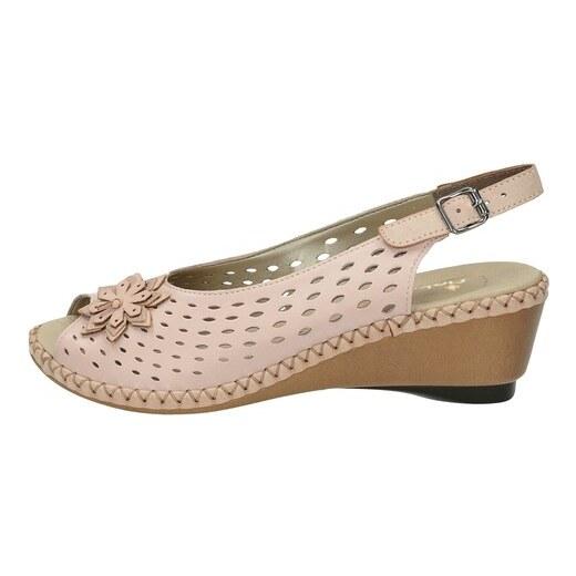 7f50399250b81 Rieker dámske perforované sandále na klinovej podrážke - ružové - Glami.sk