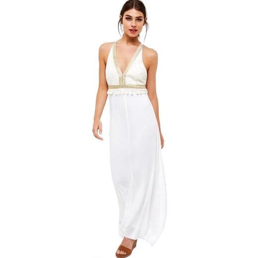 LITTLE MISTRESS Biele maxi šaty s háčkovaným živôtikom - Glami.sk fd074ce491