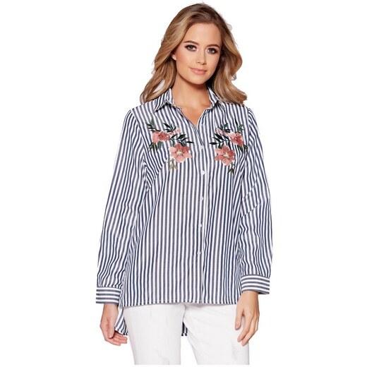 2e40b6ff4896 QUIZ Pruhovaná košeľa s kvetinovou výšivkou - Glami.sk