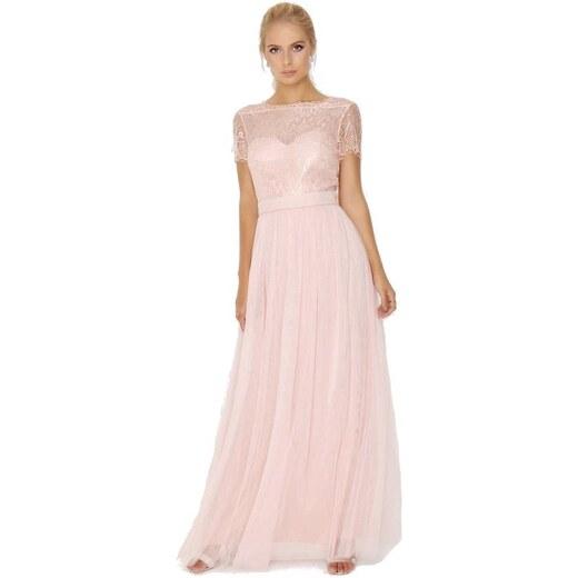 LITTLE MISTRESS Růžové společenské maxi šaty s krajkovým topem - Glami.cz 572740e139