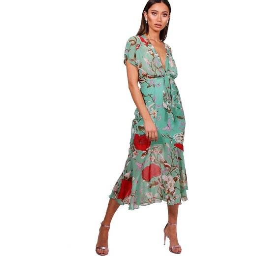 856205a58a8d BOOHOO Kvetinové midi šaty Kira s viazaním - Glami.sk