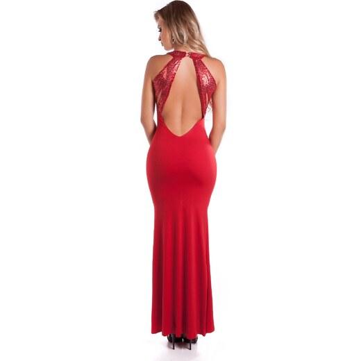 75bb835b5c65 Strikingstyle Dlhé spoločenské šaty s flitrami   červené - Glami.sk