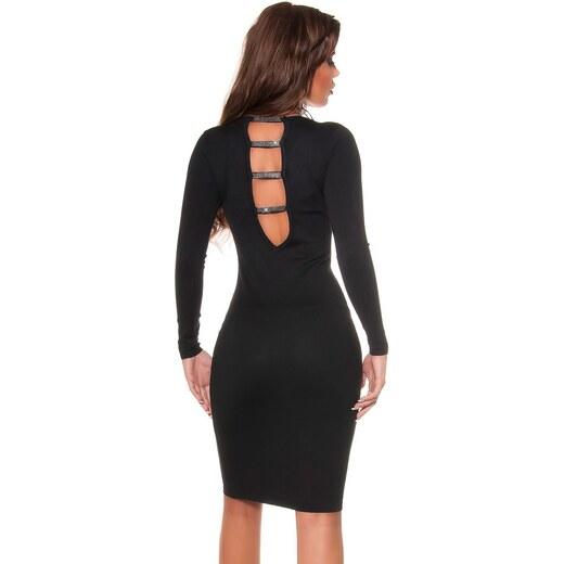 Koucla Úpletové šaty s odhaleným chrbátom a kamienkami   čierne - Glami.sk 08b00e57fc1