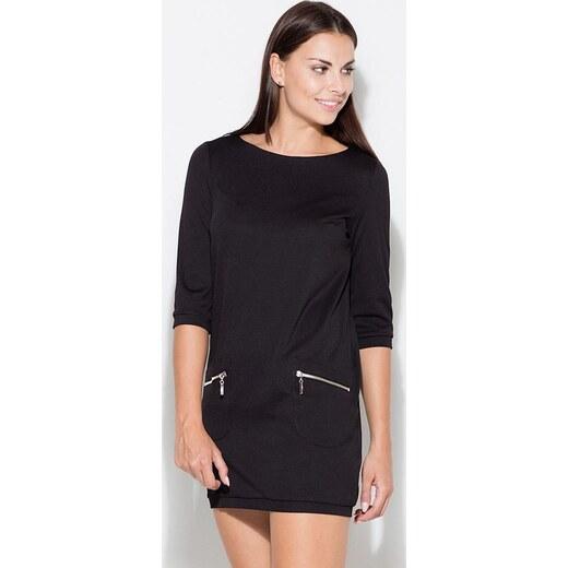 68f9073f1162 KATRUS Čierne mini šaty s 3 4 rukávmi K087 - Glami.sk