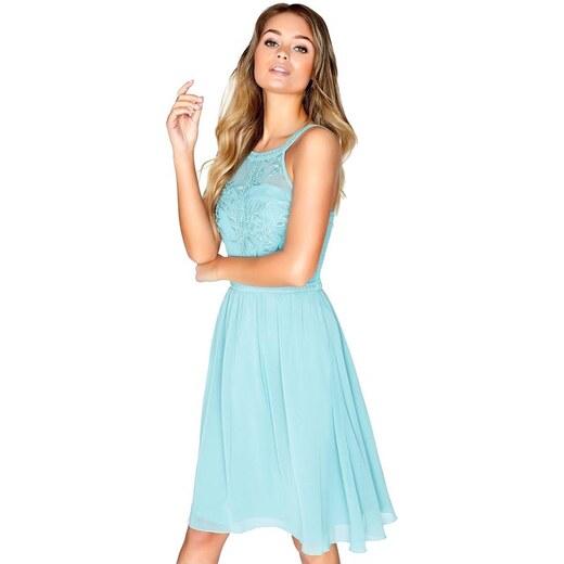 LITTLE MISTRESS Midi šaty v šalvějovém odstínu s výšivkou a trim detaily v  topu - Glami.cz 1e9a6df37a