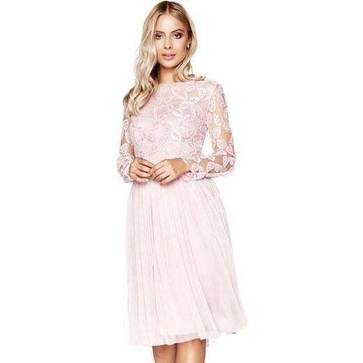 LITTLE MISTRESS Růžové šaty s krajkovou aplikací v topu - Glami.cz 2760551ed7