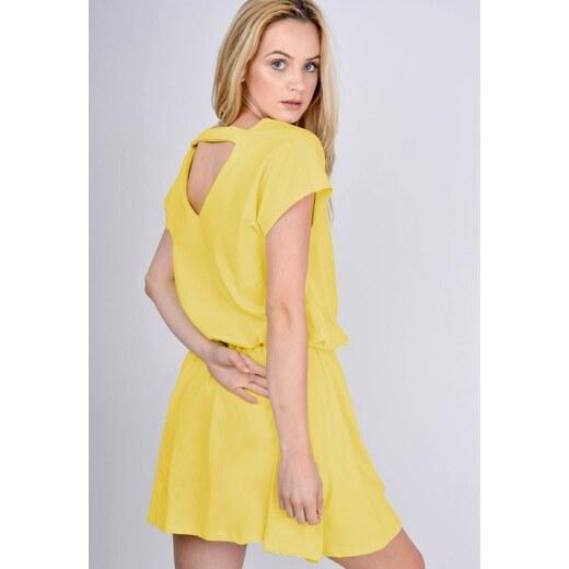 BASIC Žluté šaty s gumou v pase - 1623 - Glami.cz 60c685b19c
