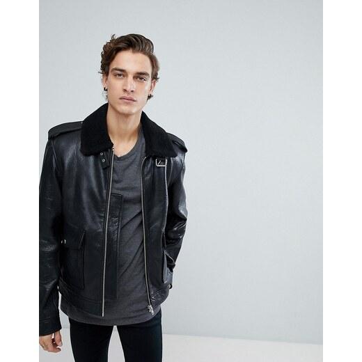 ae18114311 Black Dust Leather Jacket with Faux Fur Collar - Black - Glami.cz