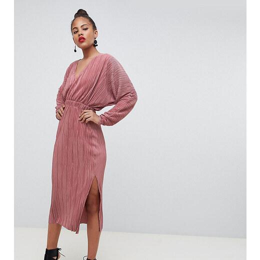 4c60cec5d6c7 ASOS Tall ASOS DESIGN Tall batwing midi plisse dress - Dusky rose - Glami.sk