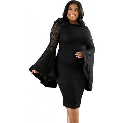 49b1456212e1 Čierne čipkované spoločenské šaty pre moletky N14460 - Glami.sk