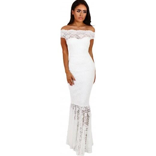 c6f65f15848d Dlhé čipkované spoločenské bardot šaty - biele LC61481-1 - Glami.sk