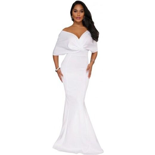 c23ebe74fe4d Dlhé biele večerné šaty na ples LC61944-1 - Glami.sk