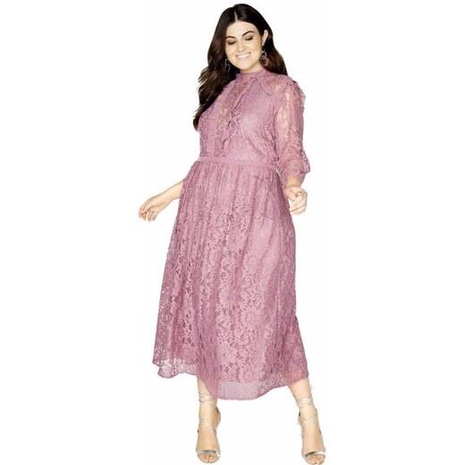 LITTLE MISTRESS Čipkované midi šaty s dlhým rukávom - Glami.sk 6af23ecc905
