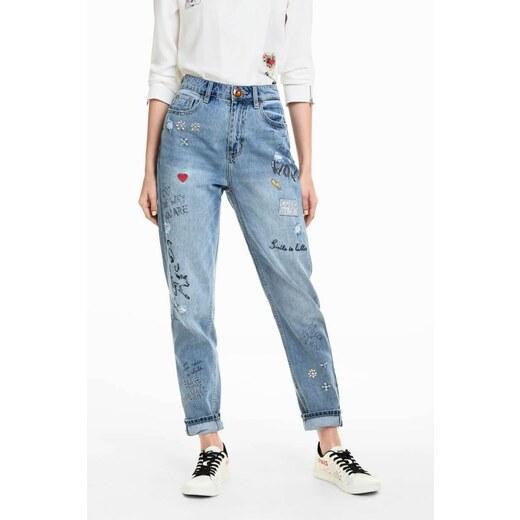 jeansy Desigual Lettering denim medium light - Glami.cz 70d6a588d1
