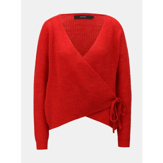 Červený vlněný zavinovací svetr VERO MODA - Glami.cz 0fb7574315