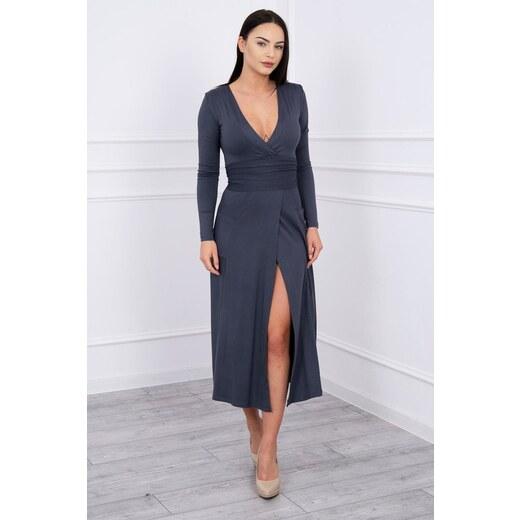 MladaModa Rovné šaty s hlbokým výstrihom v tvare V grafitové - Glami.sk 24b60b5cb53